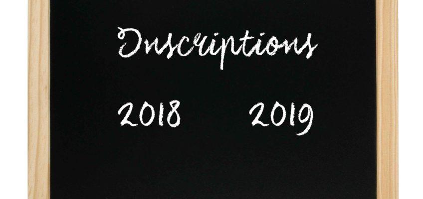 Inscriptions 2018/2019 et dates de reprises