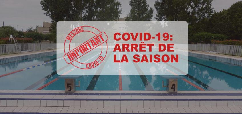 COVID 19 : Arrêt de la saison